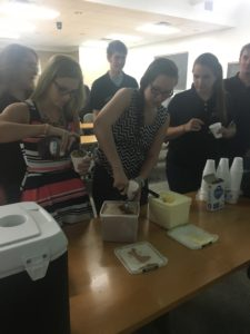 Members get ice cream at after-meeting social.